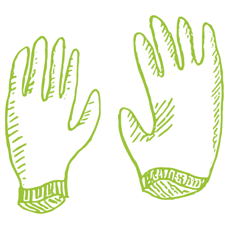 A drawing of two green gloves.