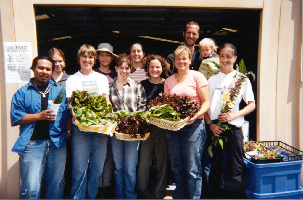 Student volunteers at the first UBC Farm Market in 2000