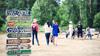 Directional signage at the Farm.