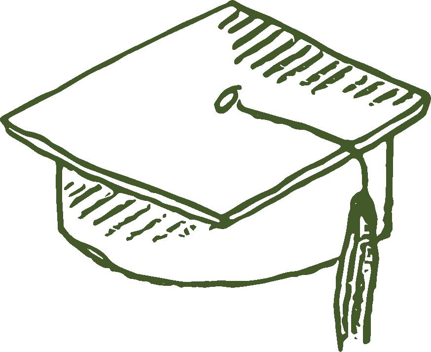 A drawing of a graduation cap.