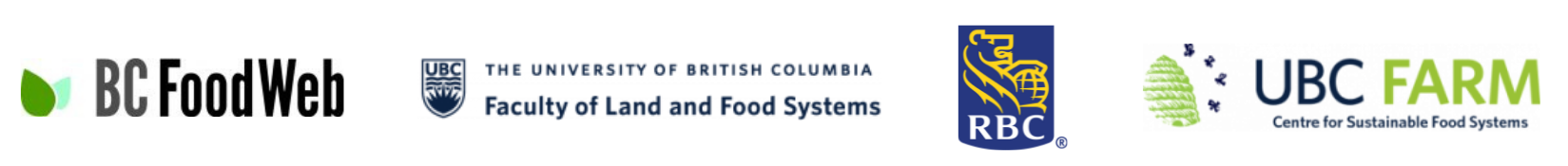 Sponsor logos for the BC Food Web, Faculty of Land and Food Systems, RBC Royal Bank, and the UBC Farm.